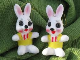 retro big eyed bunnies vintage flocked easter decorations ornaments