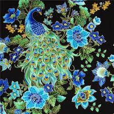 designer fabric black designer fabric plume with peacock and flowers usa kawaii