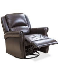 swivel recliner brayala leather swivel recliner quick ship furniture macy s