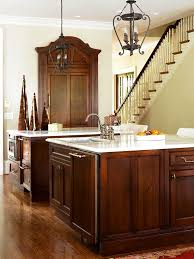 White Knotty Alder Cabinets Elegant Kitchens With Warm Wood Cabinets Traditional Home