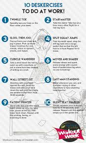 Office Workouts At Desk 10 Deskercises To Try At Work Fitness Pinterest Exercises