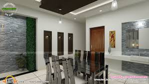 contemporary dining living and courtyard interior design kerala