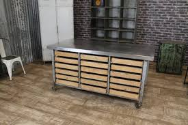 stainless kitchen island stainless steel kitchen island on castors eighteen pine drawers