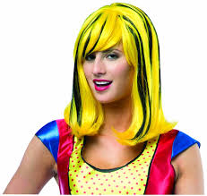 amazon women s halloween costumes amazon com rasta imposta women u0027s pop art wig yellow black