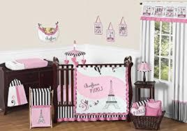 amazon com sweet jojo designs 11 piece pink black and white