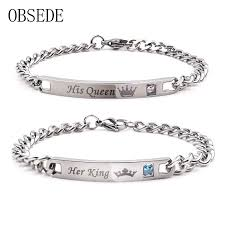stainless steel crystal bangle bracelet images Obsede fashion her king his queen couple bracelets silver color jpg