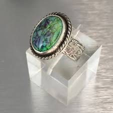 turquoise opal triple stone turquoise nugget ring vintage natural fox turquoise