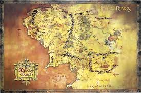 map of the lord of the rings of the rings map of middle earth poster
