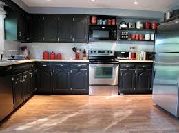 Microwave In Kitchen Cabinet by Awesome Black Painted L Shaped Kitchen Cabinet Design In Black