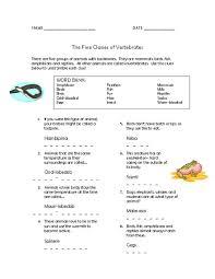 five classes of vertebrates lesson plans u0026 worksheets