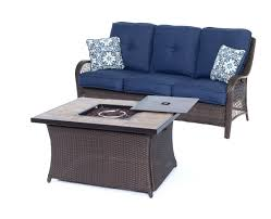 Patio Furniture Fire Pit Set by Orleans 4 Piece Woven Fire Pit Set With Tan Porcelain Tile Top In