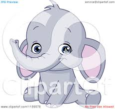 cartoon of a cute baby elephant sitting and smiling royalty free