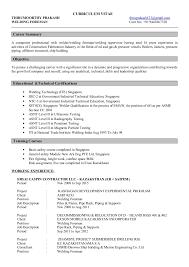 Resume For Welder Job by Prakesh Welding Foreman Cv