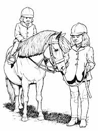 two girls and a horse animal coloring pages for kids to print