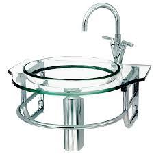 wall mount sink bracket shop decolav transparent natural glass wall mount round bathroom