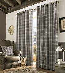 Grey Curtains 90 X 90 Homescapes Grey And Tartan Check Plaid Ready Made Eyelet