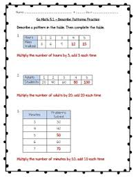 math practice 3rd grade 5 1 describe patterns worksheet freebie