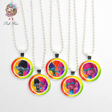 jewelry party favors trolls figure pendant necklace handmade girl jewelry glass