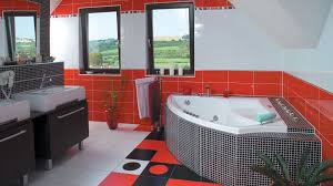 red and black bathroom sets plastic curtains cream ceramic wall