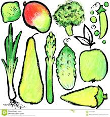 green fruits and vegetables watercolor hand drawn fruits and
