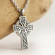 mens celtic cross necklace silver gold 100