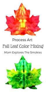 Fun Fall Kids Crafts - fall leaf color mix process art process art fall leaves and leaves