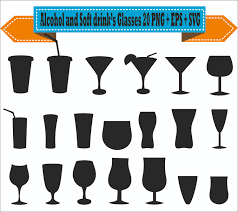 drink vector alcohol wine soft drink glasses beer liquor silhouette vector