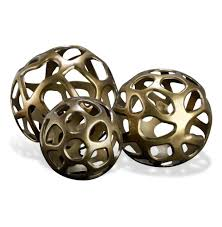 home sculptures ava sculptural modern rustic metal sphere sculptures set of 3