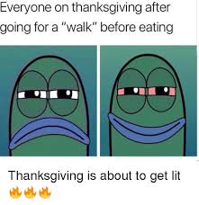 everyone on thanksgiving after going for a walk before