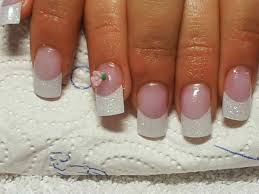 glitter french with rose nail art archive style nails magazine