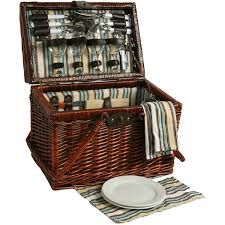picnic basket set for 4 willow picnic basket sets for 4