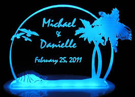 personalized wedding cake topper palm tree beach theme optional
