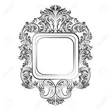 baroque rococo exquisite mirror frame decor vector luxury