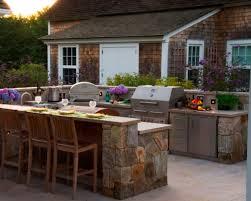 kitchen modern outdoor kitchen design with brick stone cabinet