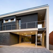house modern entrance design with decorative aluminium fence for