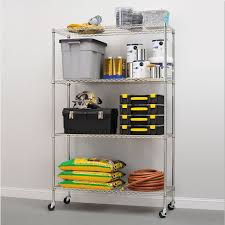 Commercial Wire Shelving by Alera Complete Wire Shelving Unit W Caster Four Shelf 48 X 18 X