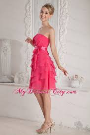 cheap pink bridesmaid dresses ruched and layered pink bridesmaid dress