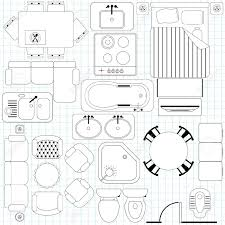 floor furniture planner icons simple plan outline royalty free