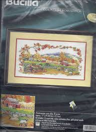 details about autumn on the farm bucilla counted cross stitch