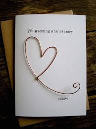 7 year anniversary gift ideas 7th wedding anniversary designer keepsake card copper wire