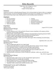 resume exles for restaurant restaurant manager resume sle diplomatic regatta