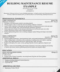 Electrician Job Resume by Building Maintenance Resume Sample Http Getresumetemplate Info