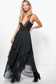 indie ruffle hem high low chiffon maxi skirt boohoo