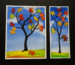 that artist fall puzzle trees