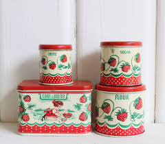 vintage tin toy kitchen canisters cute strawberry design by