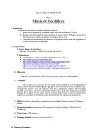 lesson plan in mapeh vii musical instruments pop culture