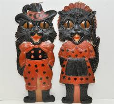 antique german halloween black cats decoration embossed pressed
