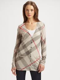 Plaid Cardigan Womens Burberry Brit Printed Check Knit Cardigan In Natural Lyst