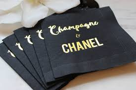 chanel party gold cocktail napkin chanel napkin gold foil