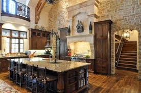 rustic kitchen design with stone wall ad classic kitchen chairs style
